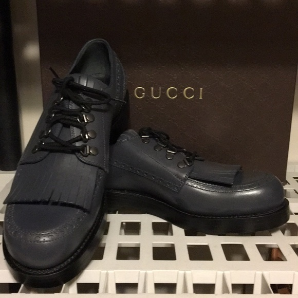 aac33d7e551 New Gucci Sella Lux Gray leather wing tip Sz 10 ❤️